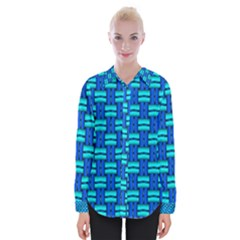 Pattern Graphic Background Image Blue Womens Long Sleeve Shirt