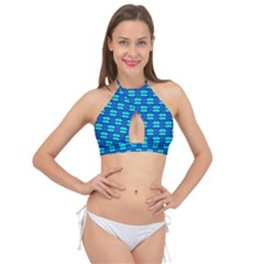 Pattern Graphic Background Image Blue Cross Front Halter Bikini Top