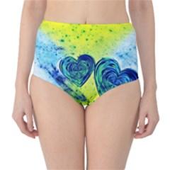 Heart Emotions Love Blue Classic High-waist Bikini Bottoms by HermanTelo