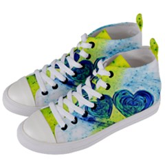 Heart Emotions Love Blue Women s Mid-top Canvas Sneakers by HermanTelo