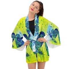 Heart Emotions Love Blue Long Sleeve Kimono by HermanTelo