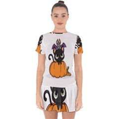 Halloween Cute Cat Drop Hem Mini Chiffon Dress