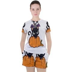 Halloween Cute Cat Women s Tee And Shorts Set