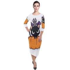 Halloween Cute Cat Quarter Sleeve Midi Velour Bodycon Dress