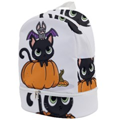 Halloween Cute Cat Zip Bottom Backpack