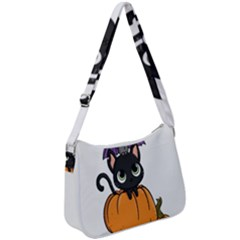 Halloween Cute Cat Zip Up Shoulder Bag by HermanTelo