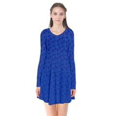 Background Polka Blue Long Sleeve V Neck Flare Dress