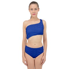 Background Polka Blue Spliced Up Two Piece Swimsuit