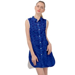 Background Polka Blue Sleeveless Shirt Dress
