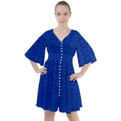 Background Polka Blue Boho Button Up Dress