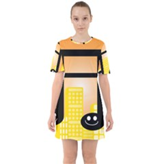Abstract Anthropomorphic Art Sixties Short Sleeve Mini Dress