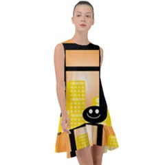Abstract Anthropomorphic Art Frill Swing Dress