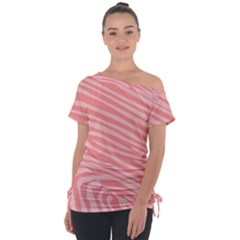 Pattern Texture Pink Tie-up Tee