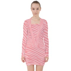 Pattern Texture Pink V-neck Bodycon Long Sleeve Dress