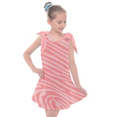 Pattern Texture Pink Kids  Tie Up Tunic Dress