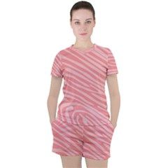 Pattern Texture Pink Women s Tee And Shorts Set