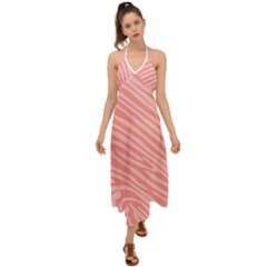 Pattern Texture Pink Halter Tie Back Dress
