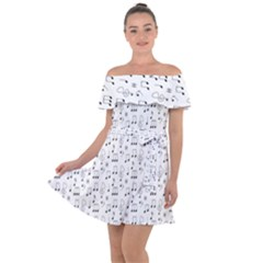 Music Notes Background Wallpaper Off Shoulder Velour Dress by HermanTelo