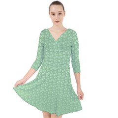 Background Polka Green Quarter Sleeve Front Wrap Dress by HermanTelo