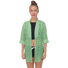 Background Polka Green Open Front Chiffon Kimono by HermanTelo