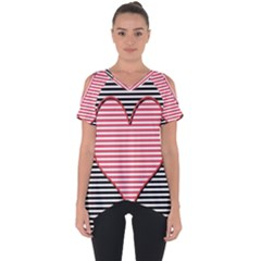 Heart Stripes Symbol Striped Cut Out Side Drop Tee