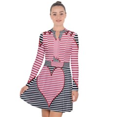 Heart Stripes Symbol Striped Long Sleeve Panel Dress