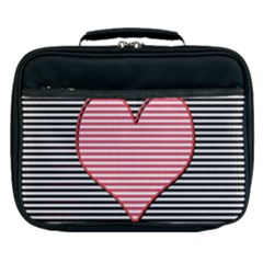 Heart Stripes Symbol Striped Lunch Bag