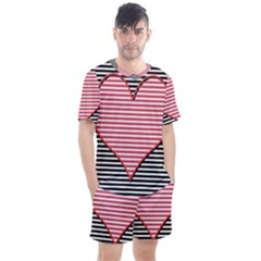 Heart Stripes Symbol Striped Men s Mesh Tee And Shorts Set
