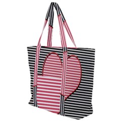 Heart Stripes Symbol Striped Zip Up Canvas Bag