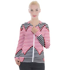 Heart Stripes Symbol Striped Casual Zip Up Jacket by HermanTelo