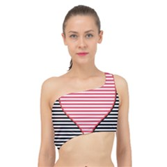 Heart Stripes Symbol Striped Spliced Up Bikini Top