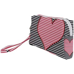 Heart Stripes Symbol Striped Wristlet Pouch Bag (small) by HermanTelo
