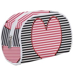 Heart Stripes Symbol Striped Makeup Case (large) by HermanTelo
