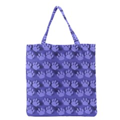 Pattern Texture Feet Dog Blue Grocery Tote Bag