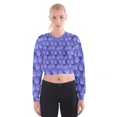 Pattern Texture Feet Dog Blue Cropped Sweatshirt