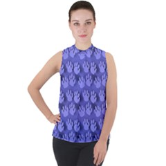 Pattern Texture Feet Dog Blue Mock Neck Chiffon Sleeveless Top by HermanTelo