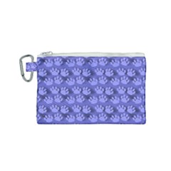 Pattern Texture Feet Dog Blue Canvas Cosmetic Bag (small)