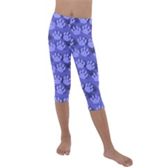 Pattern Texture Feet Dog Blue Kids  Lightweight Velour Capri Leggings  by HermanTelo