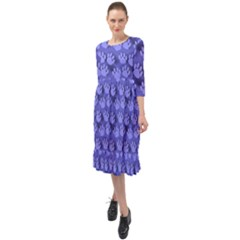 Pattern Texture Feet Dog Blue Ruffle End Midi Chiffon Dress