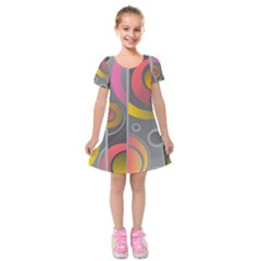 Abstract Colorful Background Grey Kids  Short Sleeve Velvet Dress by HermanTelo