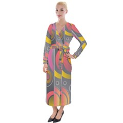 Abstract Colorful Background Grey Velvet Maxi Wrap Dress