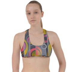 Abstract Colorful Background Grey Criss Cross Racerback Sports Bra