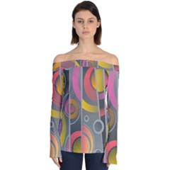 Abstract Colorful Background Grey Off Shoulder Long Sleeve Top