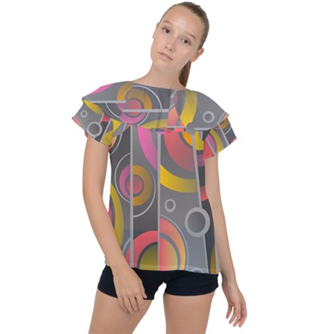 Abstract Colorful Background Grey Ruffle Collar Chiffon Blouse by HermanTelo