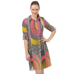 Abstract Colorful Background Grey Long Sleeve Mini Shirt Dress