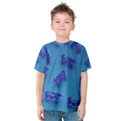 Cow Illustration Blue Kids  Cotton Tee