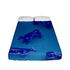 Cow Illustration Blue Fitted Sheet (full/ Double Size)
