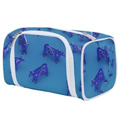 Cow Illustration Blue Toiletries Pouch