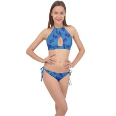 Cow Illustration Blue Cross Front Halter Bikini Set