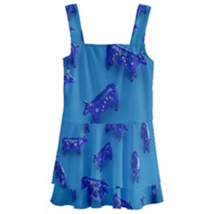 Cow Illustration Blue Kids  Layered Skirt Swimsuit by HermanTelo
